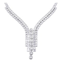18 Karat White Gold Custom Mosaic Diamond Drop Necklace