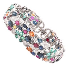 18 Karat White Gold Multi-Gemstone and Diamond Floral Bracelet