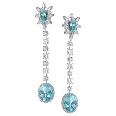 18 Karat White Gold Paraiba and Diamond Drop Earrings