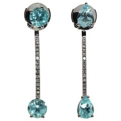 DELFINA DELETTREZ 18 Karat White Gold Paraiba Drop Earrings