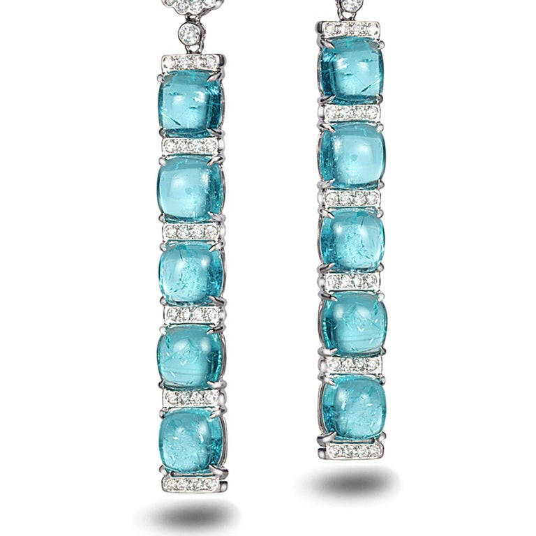 18 Karat White Gold Paraiba Long Earrings In New Condition For Sale In Secaucus, NJ