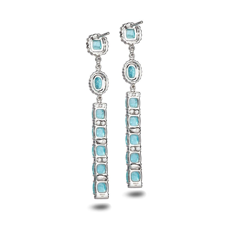 Women's 18 Karat White Gold Paraiba Long Earrings For Sale