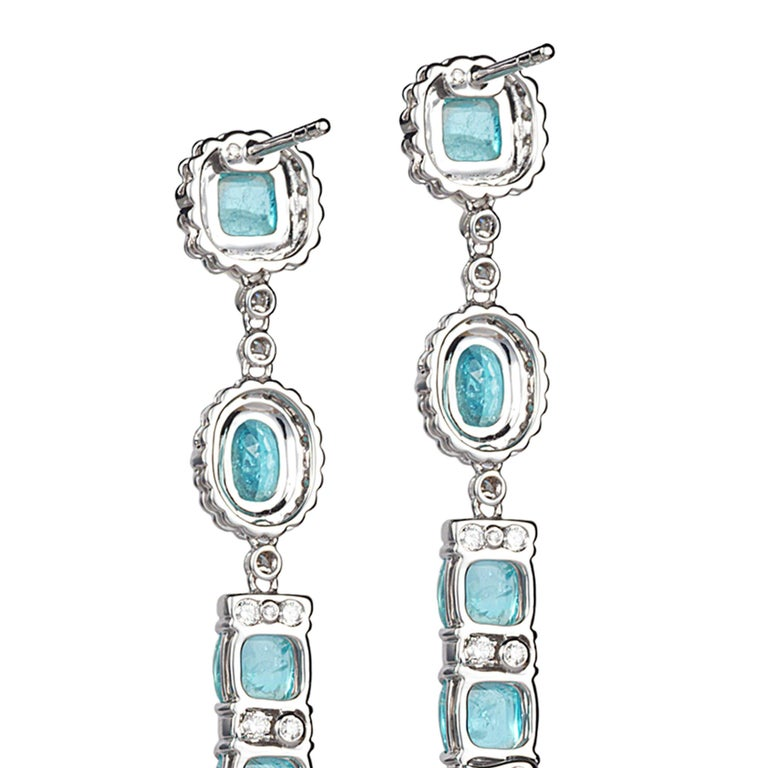 18 Karat White Gold Paraiba Long Earrings For Sale 1