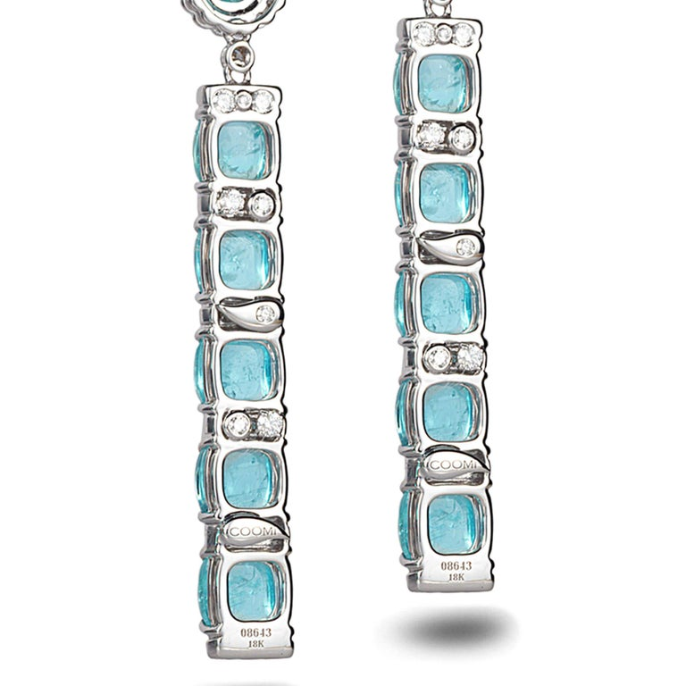 18 Karat White Gold Paraiba Long Earrings For Sale 2