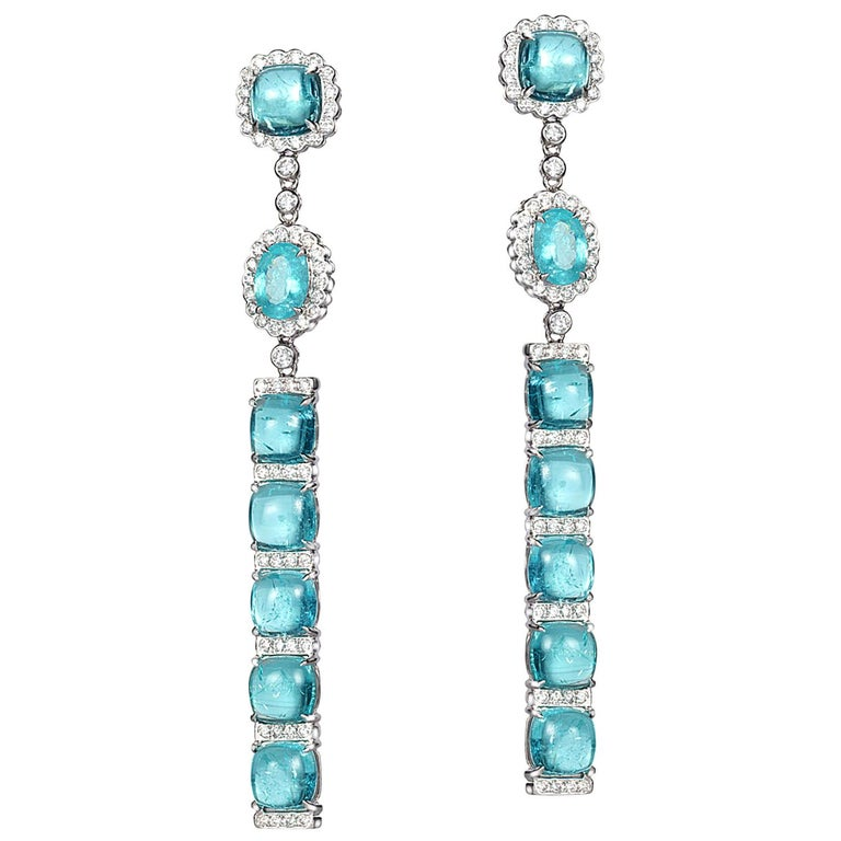 18 Karat White Gold Paraiba Long Earrings For Sale