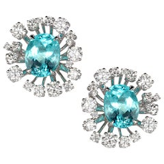 18 Karat White Gold Paraiba Star Burst Stud Earrings