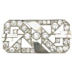 18 Karat White Gold Platinum Art Deco Diamond 11 Carat European Cut Brooch