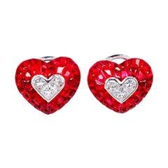 18 Karat White Gold Ruby Heart Earrings with Diamond