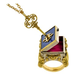 18 Karat Yellow and White Gold, Lapis Lazuli and Diamond Celestial Chamber Ring