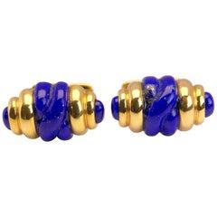 18 Karat Yellow Gold and Lapis Lazuli Barrel Shaped Cuff Links