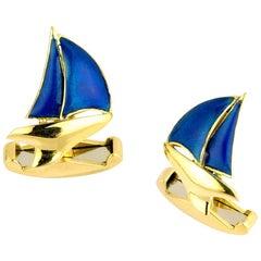 Deakin & Francis 18 Karat Yellow Gold Blue Enamel Yacht Cufflinks