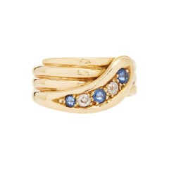 18 Karat Yellow Gold Diamond and Sapphire Snake Ring