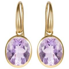 18 Karat Yellow Gold Purple Amethyst Drop Earrings