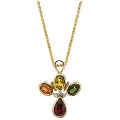 18 Karat Yellow Gold Sapphire Garnet and Tourmaline Diamond Necklace