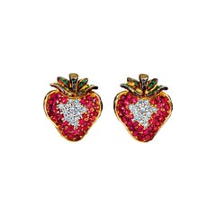 18 Karat Yellow Gold Stud Earrings with Diamonds Tsavorites and Pink Sapphires