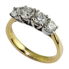18 Karat Yellow White Gold Four Diamond Eternity Ring