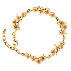 18 Rose Karat Gold Contemporary Link Blossom Bracelet with Diamonds by Artist