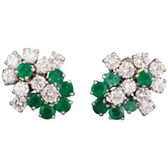 1.80 Carat Diamonds and 1.20 Carat French Emeralds Earrings