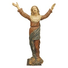 1800s Italian Hand Carved Wood Saint Statue