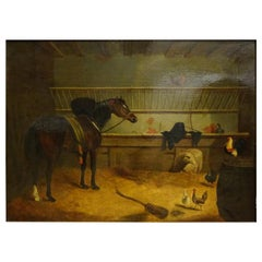 "1840 Jhon Frederick Herring Sr England Oil on Canvas ""Stable with Horse"" Signed"