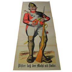 1880s European Lifesize Stone Lithography Poster with an Officer