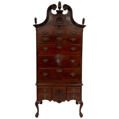 1880s Mahogany Chippendale Style Highboy with Flame Finials