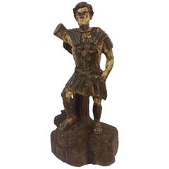 1880s Painted Carved Wood Roman Soldier Statue in Full Battle Attire and Sword