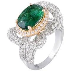 18 Karat Gold Zambian Emerald White Diamond Cocktail Ring