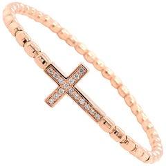 18 Karat Rose Gold Hulchi Belluni Diamond Cross Bracelet