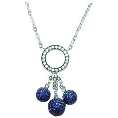 18k White gold ball Sapphire Necklace
