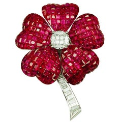 18K White gold invisible Ruby Flower Brooch