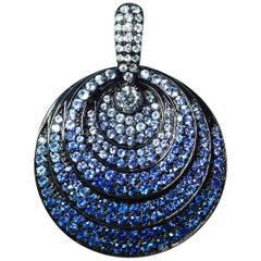 18K White gold round Sapphire and diamond Pendant