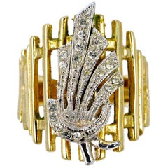 18KGE Gold Electroplate and Clear Rhinestone Floral Statement Ring