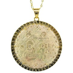 18kt Gold Pendant with an Antique Gaming Counter, Handmade in Florence, Italy