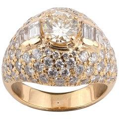 18 Karat Yellow Gold and Diamond Bombe Ring