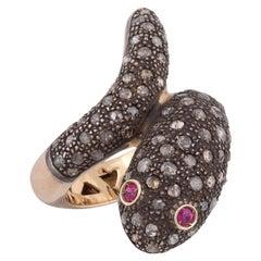 18 Karat Yellow Gold and Silver Rose Diamond Snake Ring