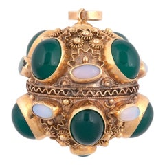 18 Karat Yellow Gold Green Agate and Opal Ball Charm, circa 1980