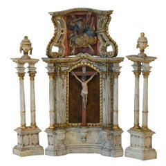 18th Century Altar Modell, South Germany, with Original Painting, Wood