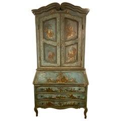 18th Century Chinoiserie Italian Two-Piece Secretary Desk Bookcase