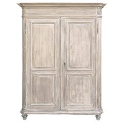 18th Century Country French Louis XIV Whitewashed Armoire