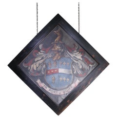 18th Century English Armorial Hatchment of the Knightley Memento Mori