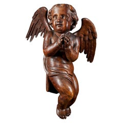 18th Century Flemish Shool, Baroque Angel Sculpture or Butti, Carved in Oak