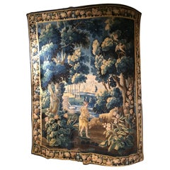 18th Century Flemish Tapestry Depicting Forest, with Birds and a Hiking Man