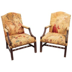 18th Century George III Pair of Gainsborough Armchairs after Chippendale