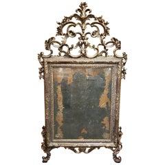 18th Century Italian Rococo Silver Gilt Mirror