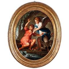 """18th Century Italian """"Saint Raphael Archangel"""" Oil on Canvas with Gilded Frame"""