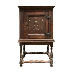 18th Century Italian Wood Mother of Pearl Inlaid Cabinet on Stand, One-Door