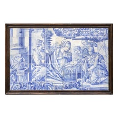 """18th Century Portuguese Tile Panel """"Holy Family"""""""