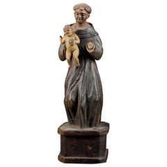 18th Century Wooden Polychromed Sculpture of Saint Anthony Carrying Jesus