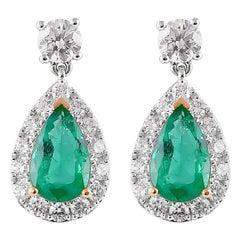 1.9 Carat Emerald and Diamond Earrings in 18 Karat White Gold